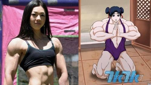 左侧为韩国肌肉美女 右侧为《十万个冷笑话》哪吒妹