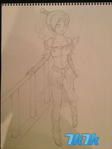 《神仙道》女玩家手绘女飞羽 绘画步骤详解