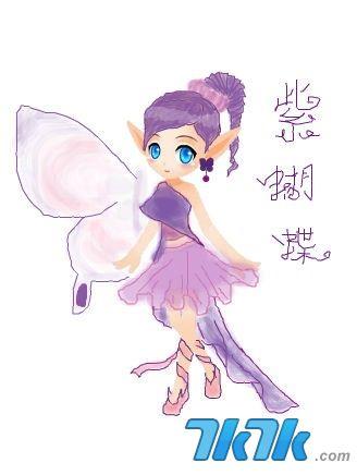 小花仙手绘服装之紫蝴蝶套装
