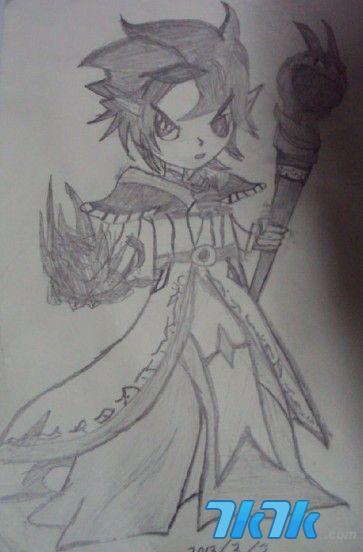 手绘男子铅笔画