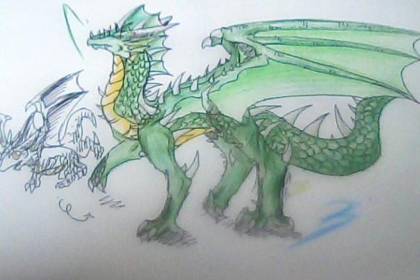 【精彩手绘】洛克王国自创精灵:水龙,草龙两兄弟