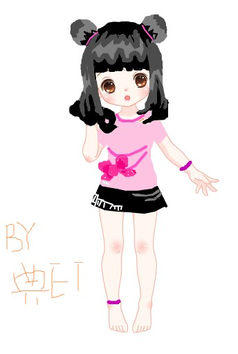韩版瑞丽简笔画女孩丸子头蝴蝶结双兜长袖抓毛