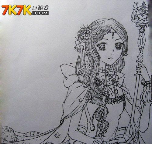 手绘古代披风美女图
