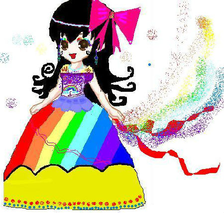 奥比岛手绘淘气彩虹公主