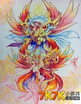 奥拉星手绘之红莲羽朱雀