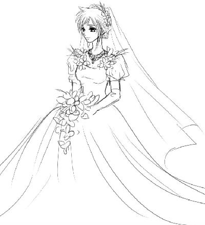 简单婚纱简笔画步骤图