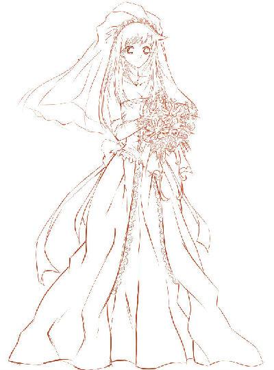 女生婚纱手绘画