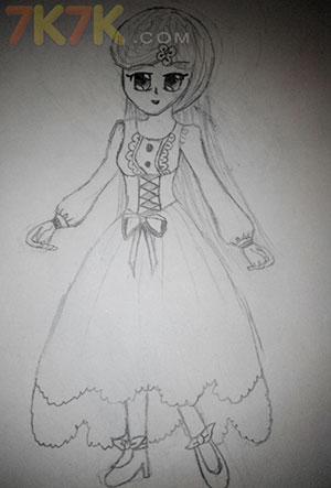 手绘黑白古风裙