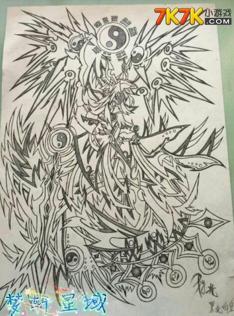 【光】奥拉星白皇黑化手绘