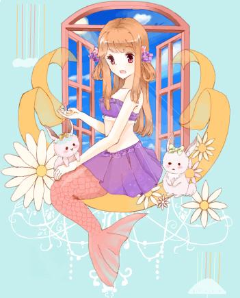 美人鱼公主坐在窗前,是在等待你的王子吗?还好有精灵的小白兔陪伴你.