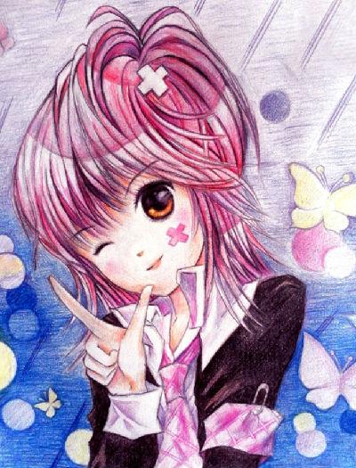 动漫美少女彩铅画