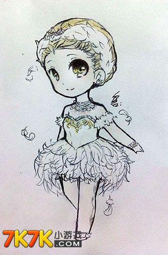 奥比岛手绘:短发芭蕾舞女孩