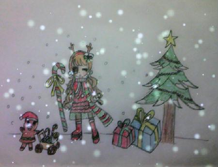 奥比岛手绘圣诞少女