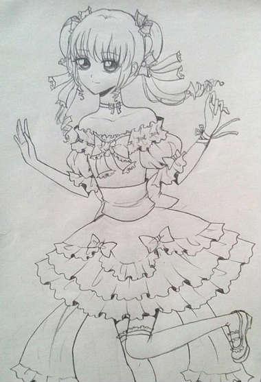 小女生简笔画-奥比岛手绘漂亮少女