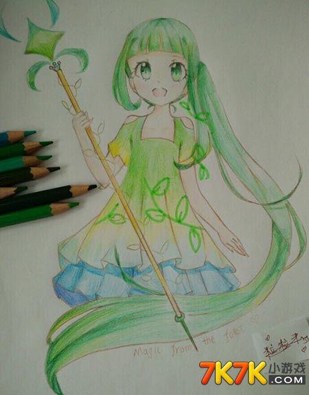 奥比岛手绘草丛公主