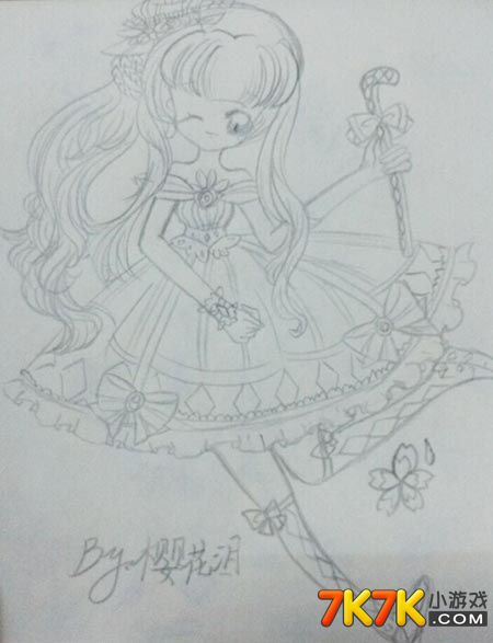 奥比岛【樱花泪】糖果少女手绘_奥比岛手绘_7k7k奥比岛