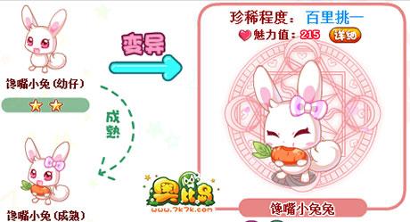 """街参加""""浪漫餐厅""""获得贪吃的小萌兔,在动物园养殖变异后获馋嘴小兔兔."""