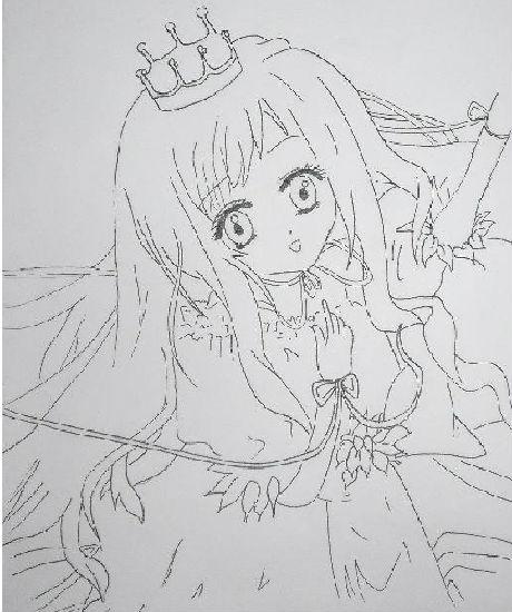 手绘王冠素描图片