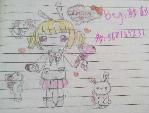 奥比岛粉萌萝莉兔套装