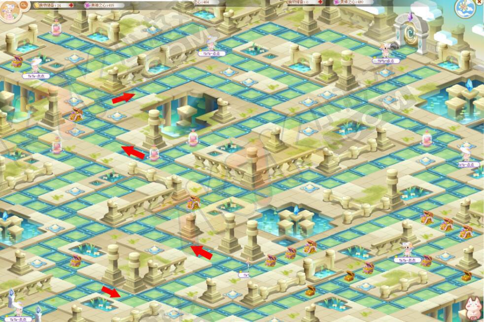 奥比岛的小伙伴们,9月1日魔衣学院后山美神的迷宫开启了神殿区域。那么如何才能快速通过迷宫,少走弯路呢?点点带来地图咯! 神殿区域-第四关  上图所示即为点点努力拼出的神殿区域第四关的迷宫地图了。图中还展示了迷宫中所有的宝箱、魔法熔炉的位置。 其中,左下角为迷宫的起点,迷宫的大门在右上角。 想要迅速离开迷宫吗?跟着标注的红色箭头走哦。 小图看不清,点击查看》》
