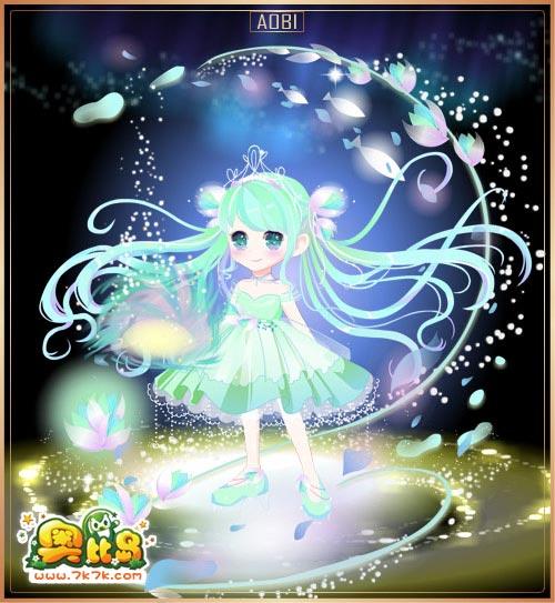 7k7k小游戏 奥比岛 魔力时装  女 -- 包含部件 绿逸缘野光效,绿逸缘野
