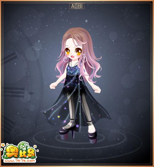 奥比岛 魔力时装  女 390 包含部件 浪炫彩女王大耳环,炫彩女王高跟鞋