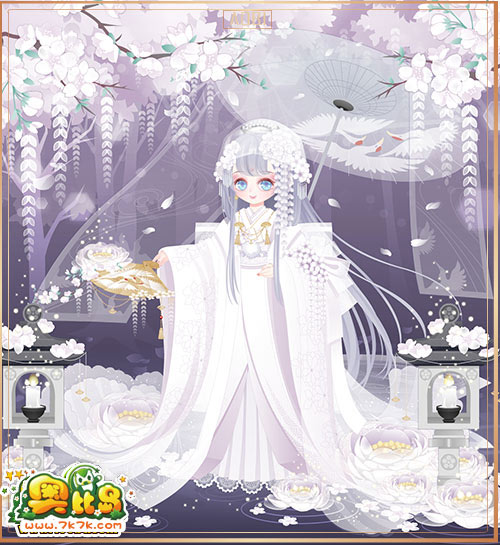 7k7k小游戏 奥比岛 魔力时装  女 1175 包含部件 白无垢新娘花柱,白