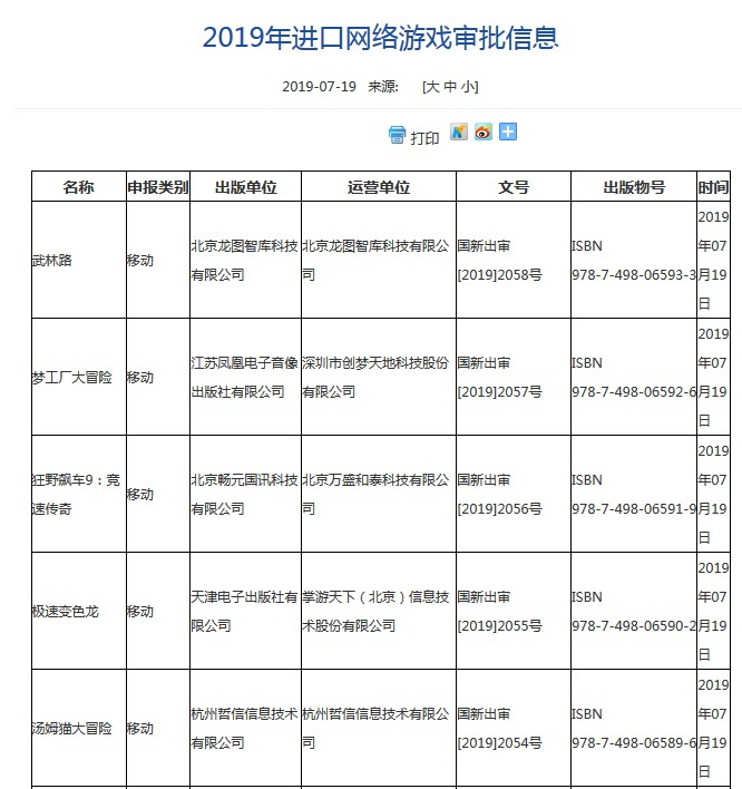 2019年进口网络游戏审批信息