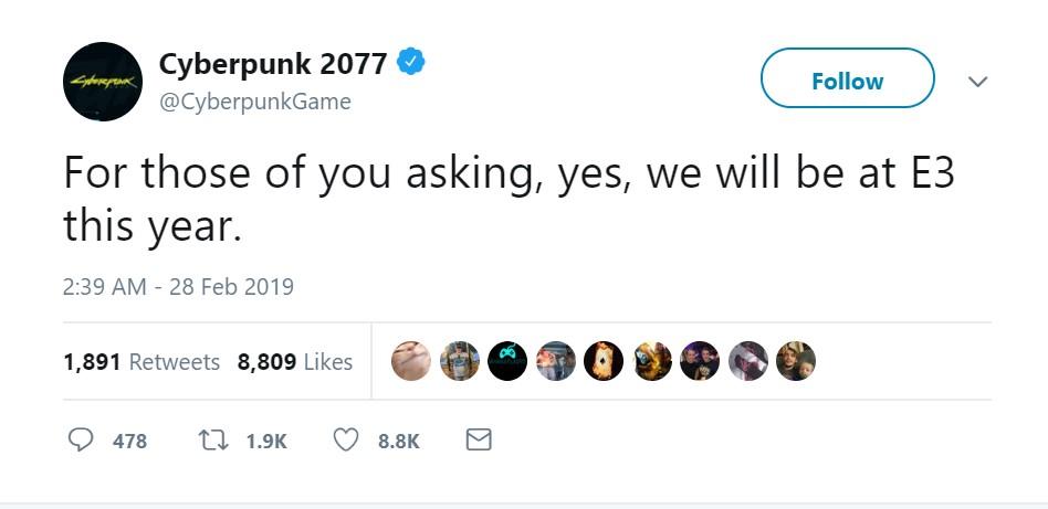 《赛博朋克2077》官方发布声明 参加E3 2019游戏展会
