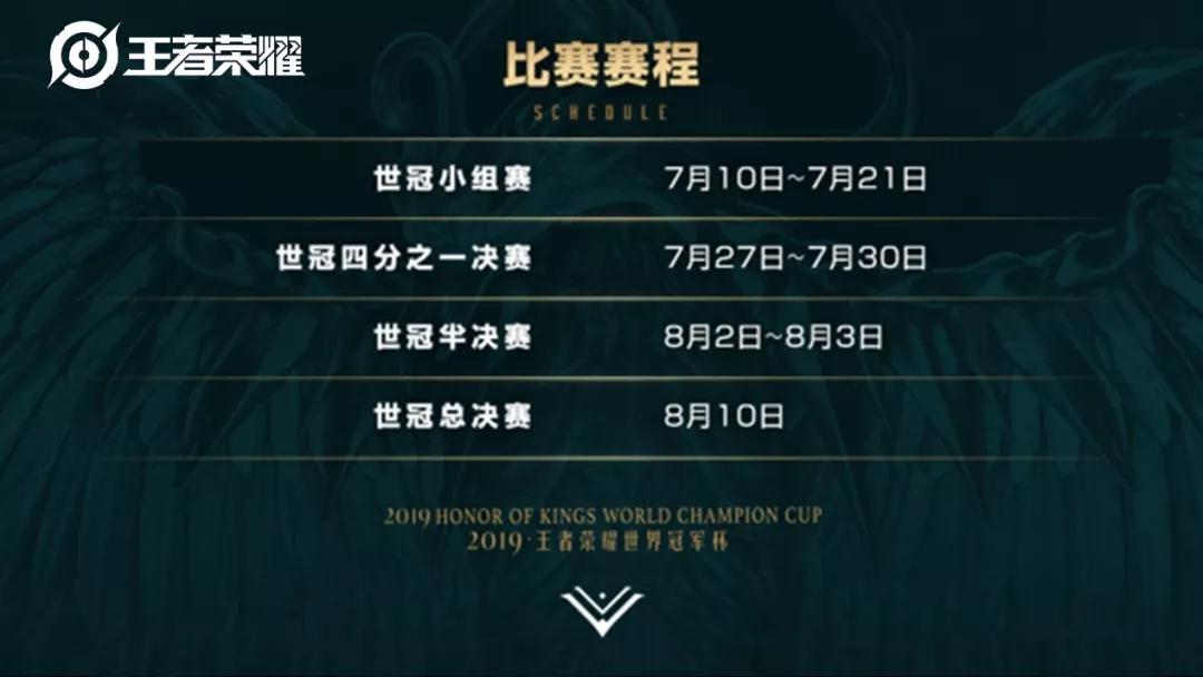 王者榮耀世界冠軍杯正賽賽程賽制公布