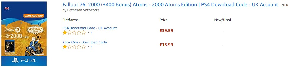 PS4版《辐射76》原子币价格比X1版高出2.5倍 到底是谁的问题?
